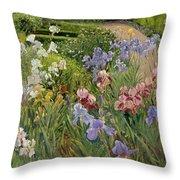 Irises At Bedfield Throw Pillow