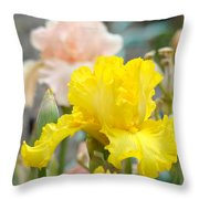 Irises Botanical Garden Yellow Iris Flowers Giclee Art Prints Baslee Troutman Throw Pillow