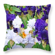Irises Flowers Garden Botanical Art Prints Baslee Troutman Throw Pillow