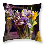 Irises In A Glass Throw Pillow