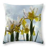 Irises Yellow White Iris Flowers Storm Clouds Sky Art Prints Baslee Troutman Throw Pillow