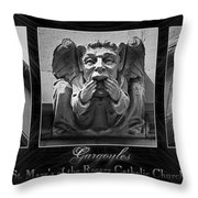 Irish Gargoyles Triptych Throw Pillow