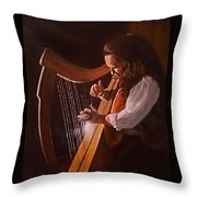 Irish Harp Throw Pillow