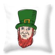 Irish Leprechaun Wearing Top Hat Drawing Throw Pillow