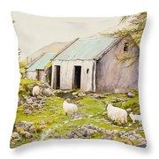 Irish Sheep Farm Throw Pillow