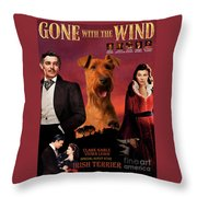Irish Terrier Art Canvas Print - Gone To The Wind Movie Poster Throw Pillow