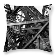 Iron Bridge Close Up In Black And White Throw Pillow