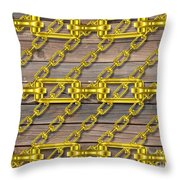 Iron Chains With Wood Texture Throw Pillow