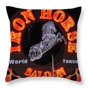 Iron Horse Saloon In Neon Throw Pillow