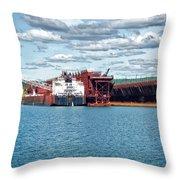 Iron Ore Loading Onto Laker Throw Pillow