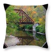 Iron Railroad Bridge From Worrall Covered Bridge Throw Pillow