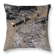 Iron Raw Materials Recycling Pile, Work Machines.  Throw Pillow