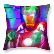 Ironman Abstract Digital Paint 2 Throw Pillow