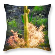 Ironwood Saguaro Dance Vignette Throw Pillow
