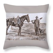 Irrigating The Hay Meadows Historical Vignette Throw Pillow