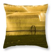 Irrigation System Operating At Sunset Throw Pillow