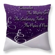 Isaiah Chapter 9 Verse 6 Christmas Card Throw Pillow by Lisa Knechtel