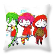 Isamu, Akane, And Amanda Throw Pillow