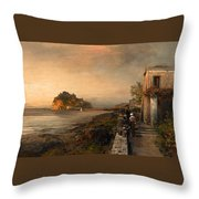 Ischia With A View Of Castello Aragonese Throw Pillow