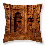 Temple Stone Wall Throw Pillow