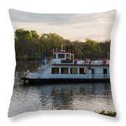 Island Belle Sternwheeler Throw Pillow
