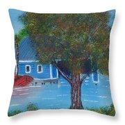 Island Boathouse Throw Pillow
