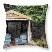 Island Bus Stop - 365-141 Throw Pillow