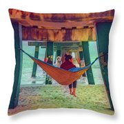 Island Dreams Under The Pier Watercolors Painting Throw Pillow