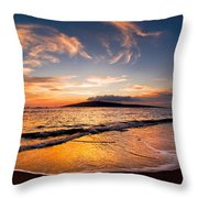Island Gold - An Amazingly Golden Sunset On The Beach In Hawaii Throw Pillow