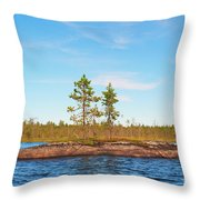 Island In The Form Of A Smooth Rock With Several Pines Throw Pillow