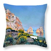 Island Of Capri - Gulf Of Naples Throw Pillow