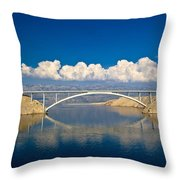 Island Of Pag Bridge And Velebit Mountain Throw Pillow