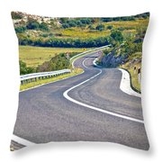Island Of Pag Curvy Road Throw Pillow