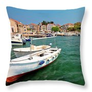 Island Of Prvic Turquoise Harbor And Waterfront View In Sepurine Throw Pillow