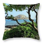 Island Through The Trees Throw Pillow