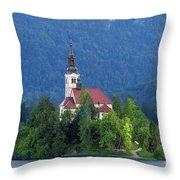 Island With Church On Bled Lake, Slovenia Throw Pillow