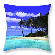 Island With Palm Trees Throw Pillow