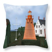 Isle La Motte Vermont Lighthouse Throw Pillow