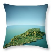 Isle Of Man 3d View South-north Natural Color Throw Pillow