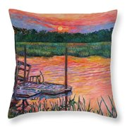 Isle Of Palms Sunset Throw Pillow