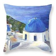 Isle Of Santorini Thiara  In Greece Throw Pillow