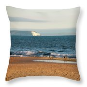 Isle Of Wight As Seen From Bournemouth Beach Throw Pillow