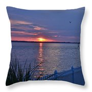 Isle Of Wight Bay Sunset Throw Pillow