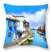 Isola Di Burano Throw Pillow