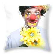 Isolated Clown In A Funny Summer Romance Throw Pillow