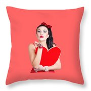 Isolated Pin Up Woman Holding A Heart Shaped Sign Throw Pillow