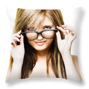 Isolated Sexy Girl Wearing Glasses On White Throw Pillow