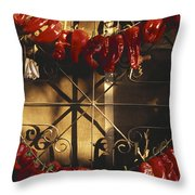 Israel Red Peppers Drying In The Sun Throw Pillow