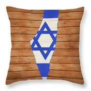 Israel Rustic Map On Wood Throw Pillow