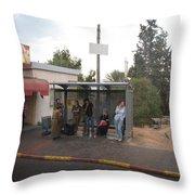 Israeli Bus Stop Throw Pillow